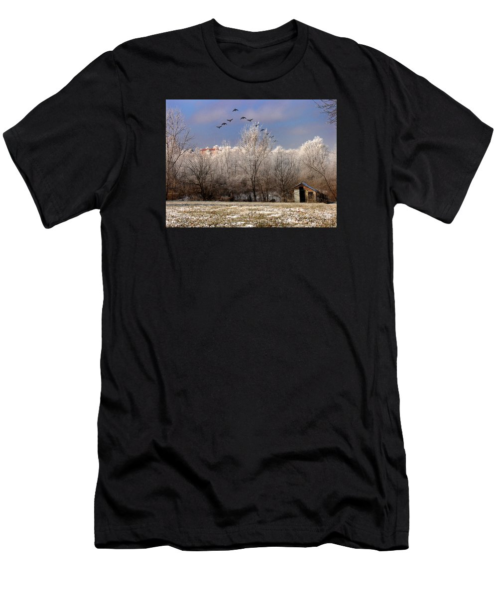 Landscape Men's T-Shirt (Athletic Fit) featuring the photograph Taking Flight by Steve Karol