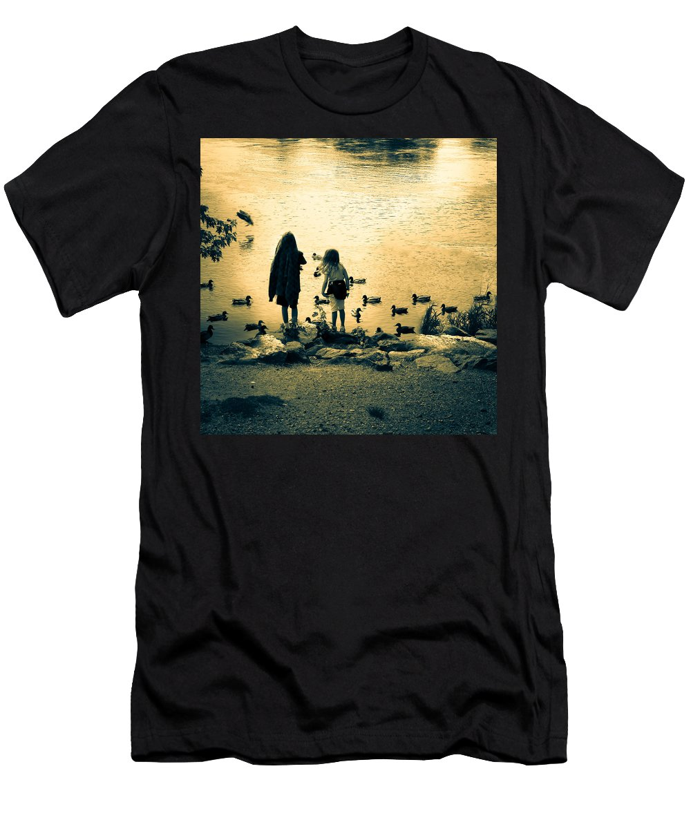 Kids Men's T-Shirt (Athletic Fit) featuring the photograph Talking To Ducks by Bob Orsillo