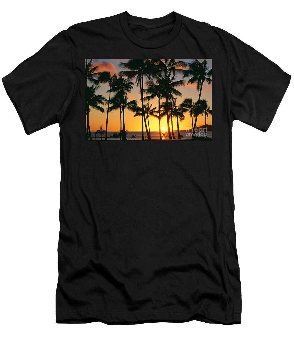 Bay Men's T-Shirt (Athletic Fit) featuring the photograph Tall Sunset Palms by Bill Schildge - Printscapes