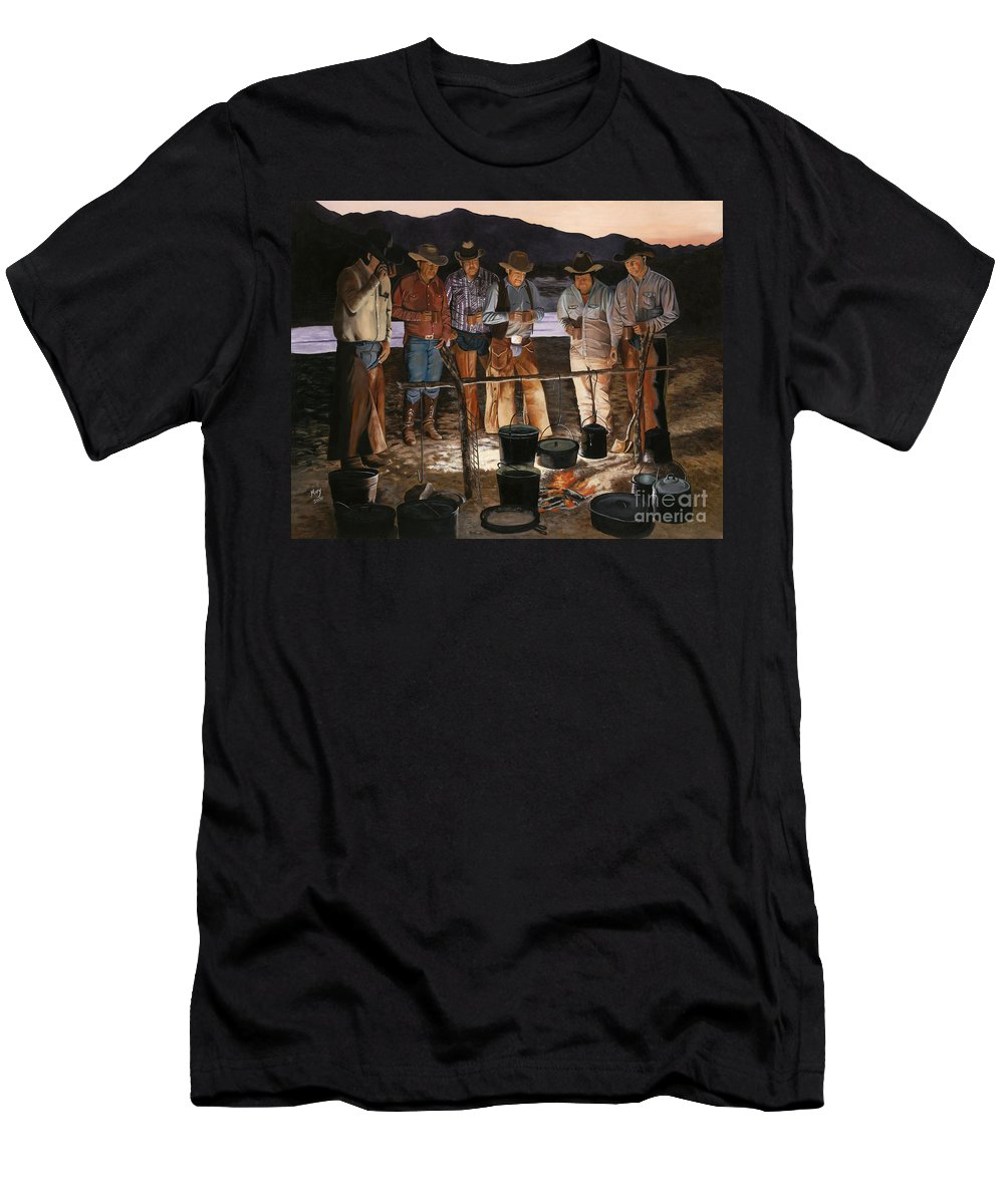 Arizona Men's T-Shirt (Athletic Fit) featuring the painting Tall Tales by Mary Rogers