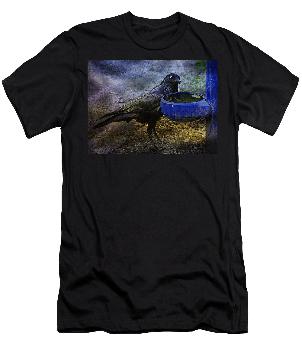Crow Men's T-Shirt (Athletic Fit) featuring the photograph Taming Of The Crow by Georgiana Romanovna