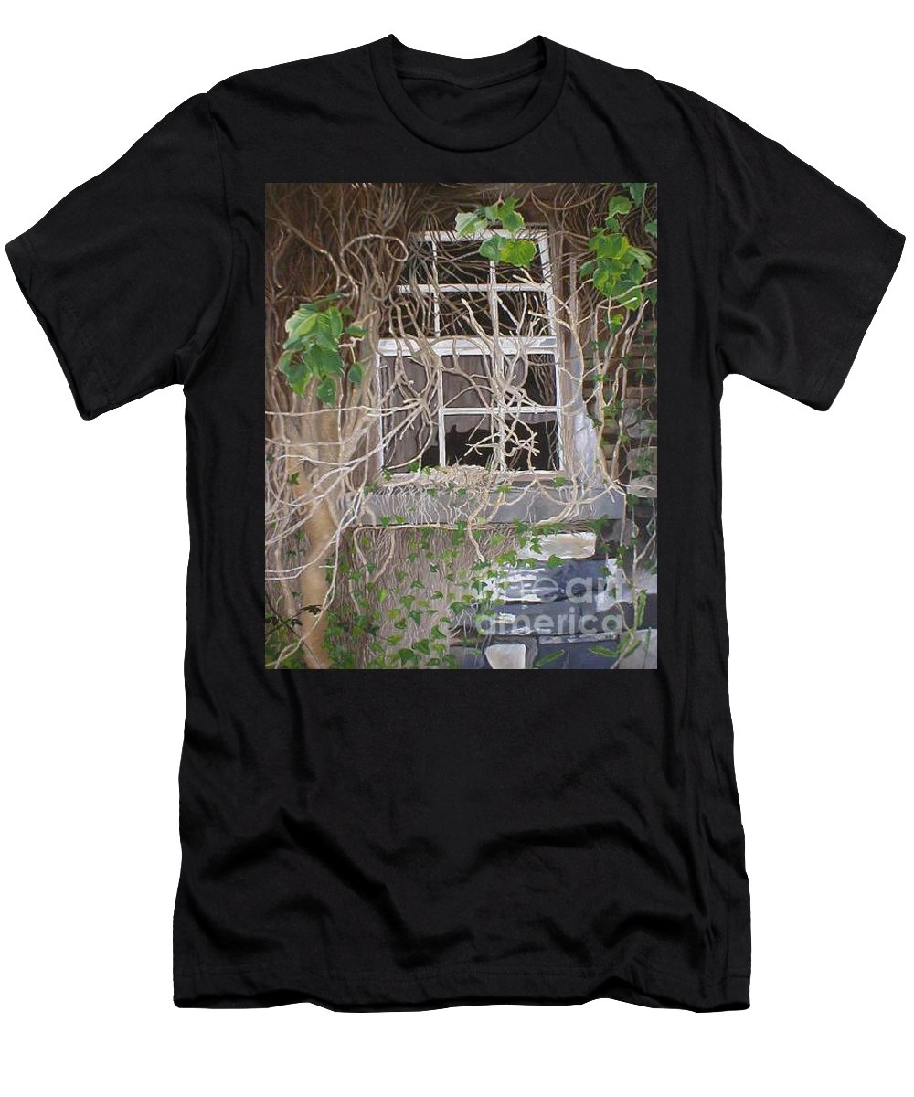 Landscape Men's T-Shirt (Athletic Fit) featuring the painting Tangle Of Memories-clounleharde School by Pauline Sharp