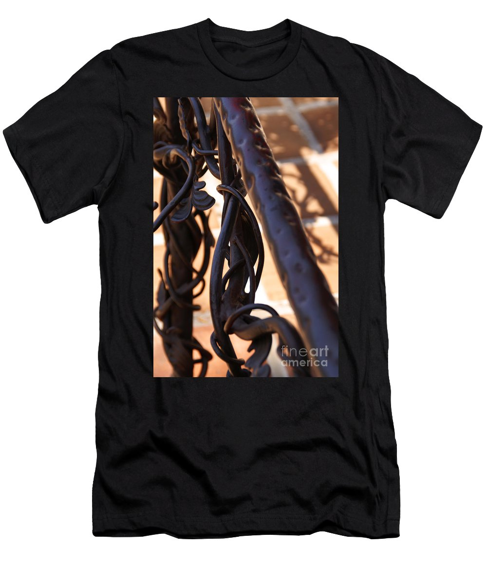 Rail Men's T-Shirt (Athletic Fit) featuring the photograph Tangled Vines by Linda Shafer