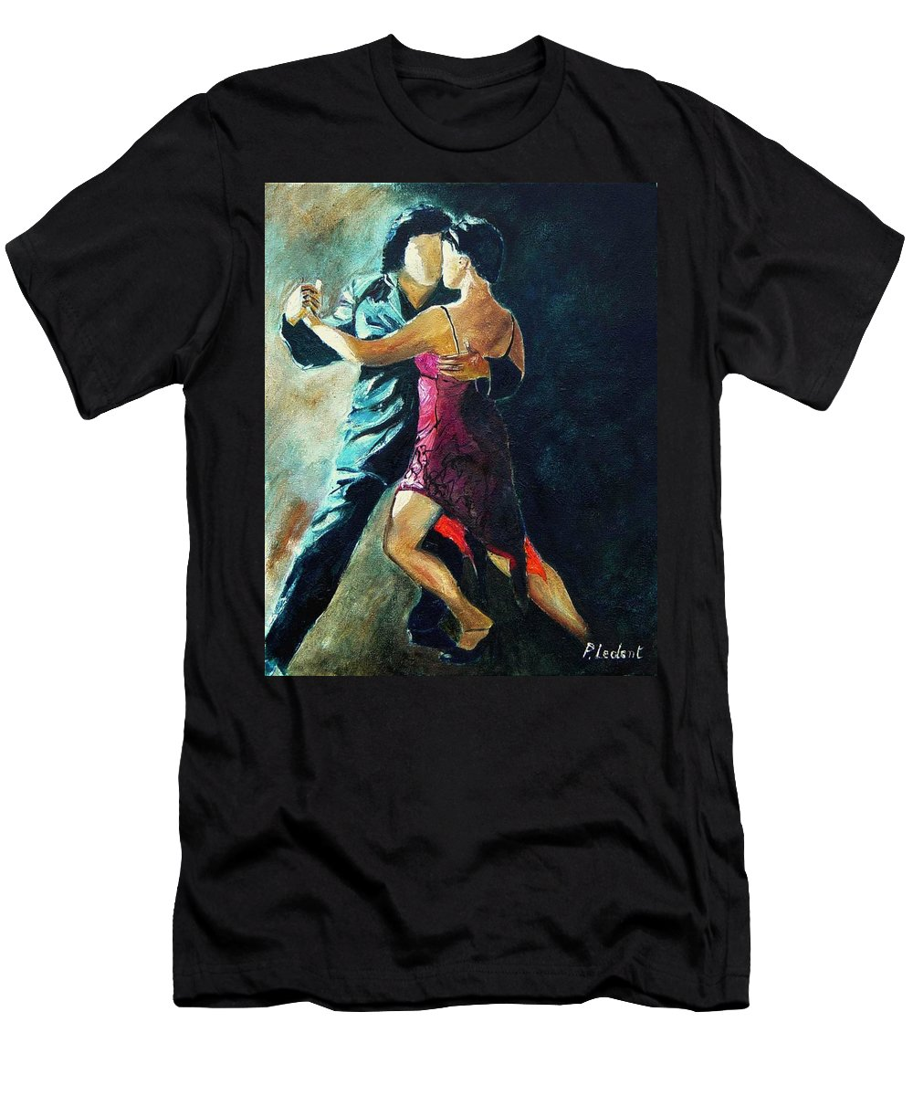 Tango Men's T-Shirt (Athletic Fit) featuring the painting Tango by Pol Ledent