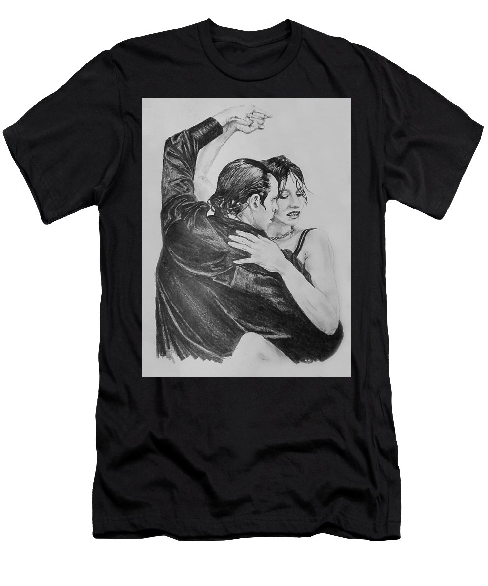 Sketch Men's T-Shirt (Athletic Fit) featuring the drawing Tango by Sheryl Gallant