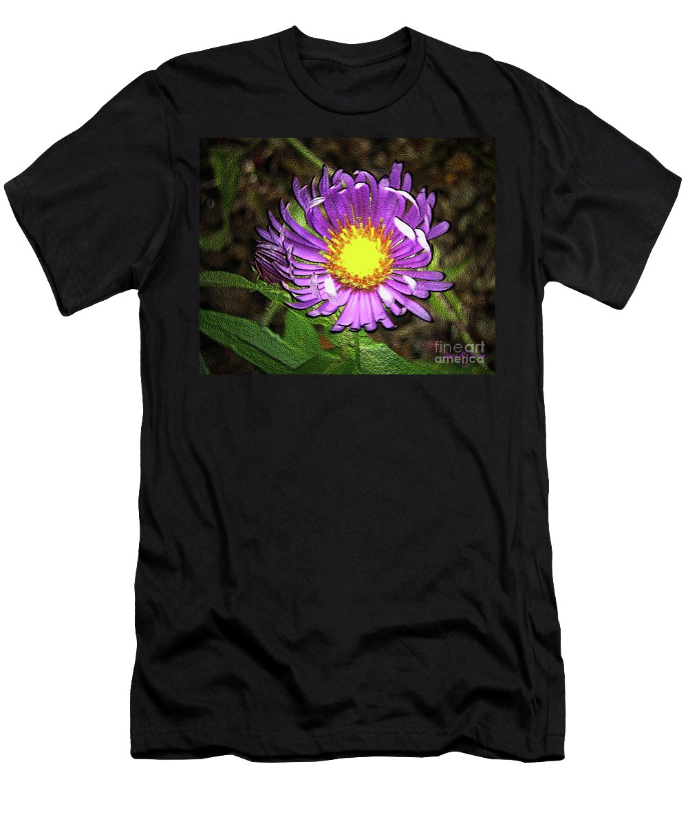 Flower Men's T-Shirt (Athletic Fit) featuring the photograph Tansyleaf Aster by Donna Brown