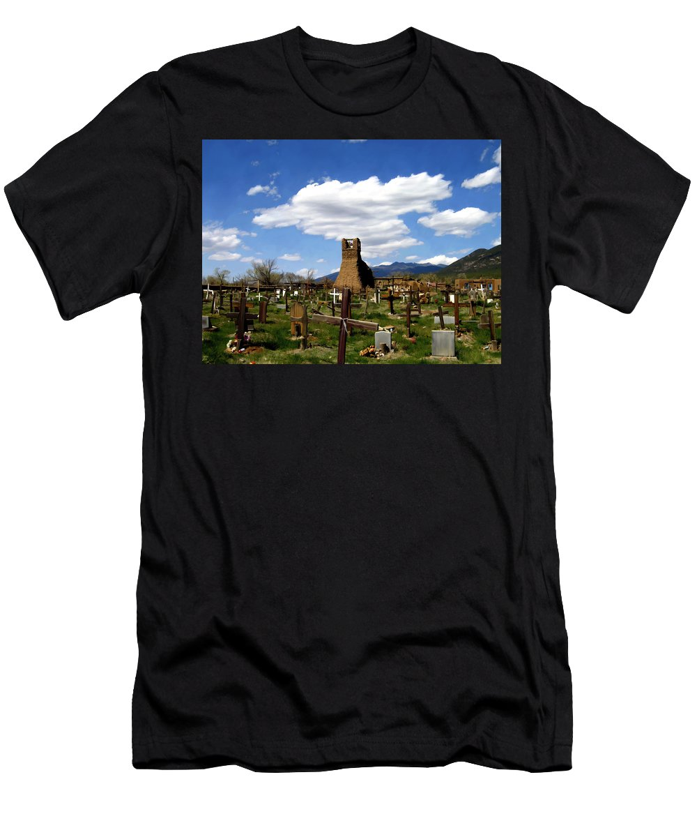 Taos Men's T-Shirt (Athletic Fit) featuring the photograph Taos Pueblo Cemetery by Kurt Van Wagner