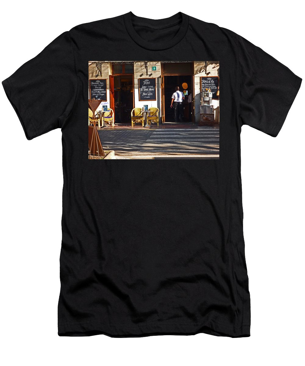 Port De Soller Men's T-Shirt (Athletic Fit) featuring the photograph Tapas Bar by Charles Stuart