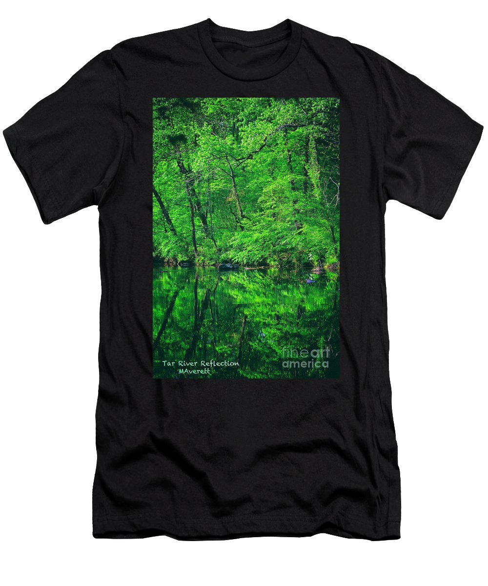 Reflection Men's T-Shirt (Athletic Fit) featuring the digital art Tar River Reflection by Marvin Averett