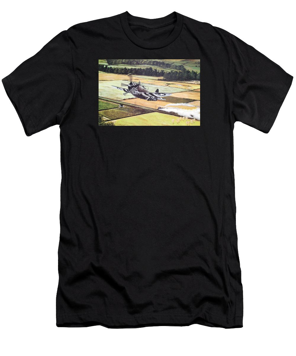 Military Men's T-Shirt (Athletic Fit) featuring the painting Target Of Opportunity by Marc Stewart