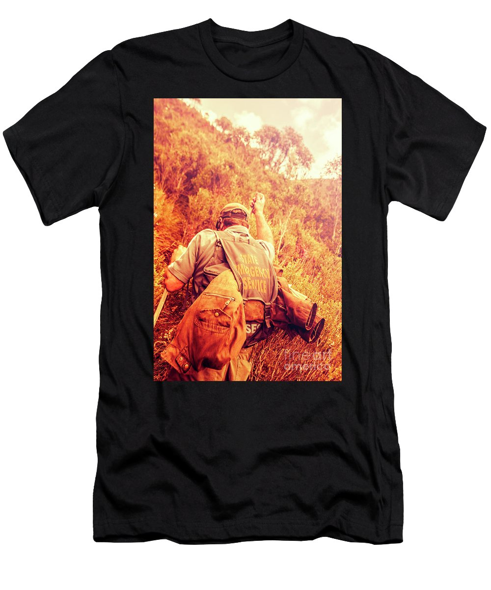 Rescue Men's T-Shirt (Athletic Fit) featuring the photograph Tasmania Search And Rescue Ses Volunteer by Jorgo Photography - Wall Art Gallery