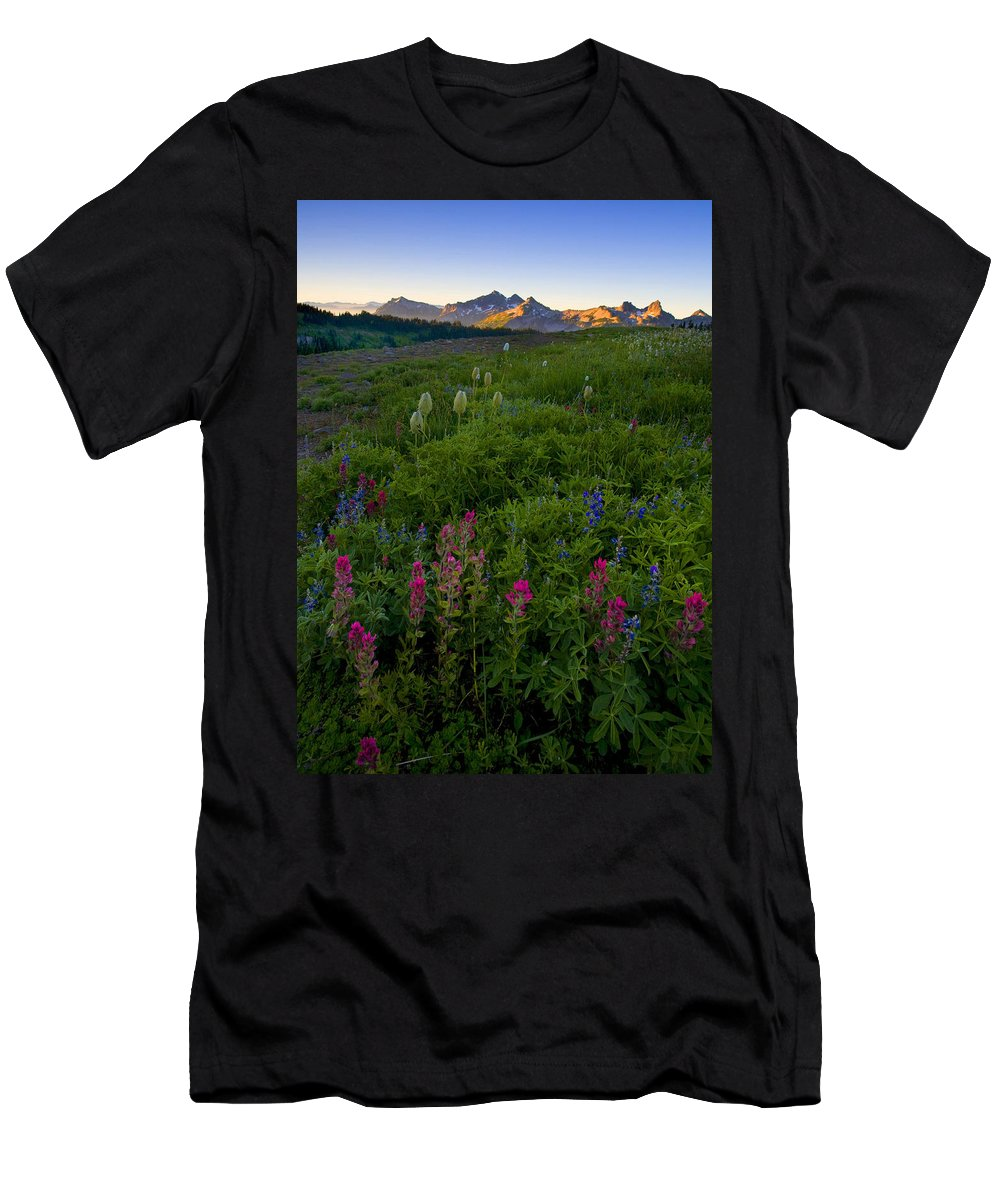 Dawn Men's T-Shirt (Athletic Fit) featuring the photograph Tatoosh Dawn by Mike Dawson