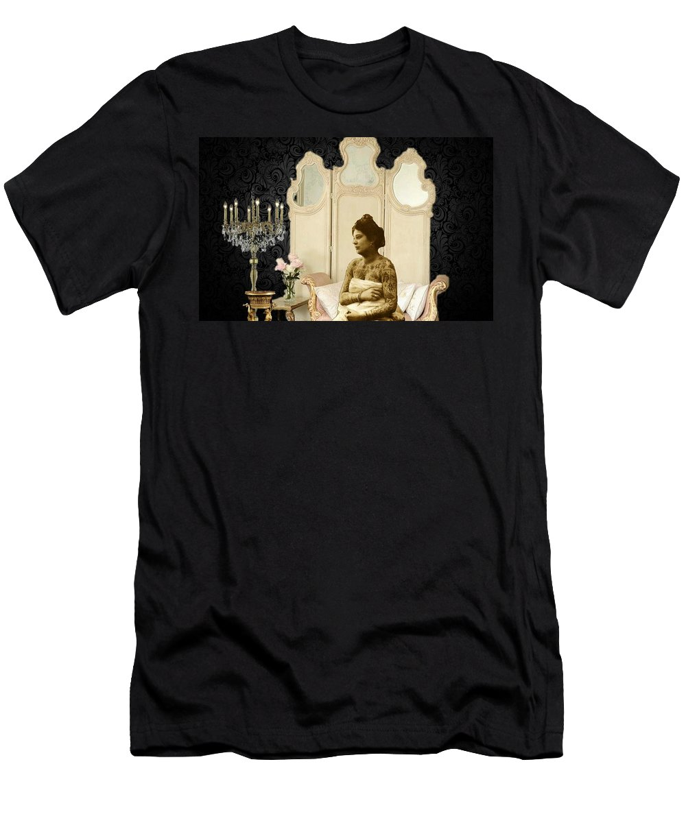 Collage Men's T-Shirt (Athletic Fit) featuring the digital art Tattooed Elegance by Tiffaney Porter