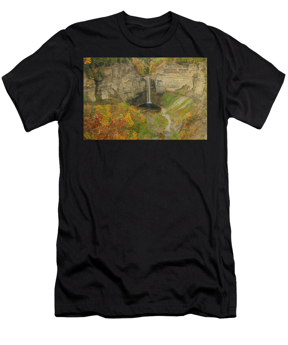 Taughannock Falls State Park In Autumn Men's T-Shirt (Athletic Fit) featuring the painting Taughannock Falls Panorama by Dan Sproul