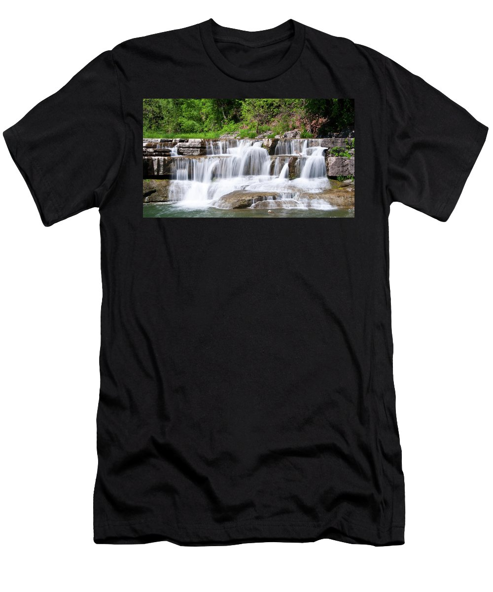 Water Men's T-Shirt (Athletic Fit) featuring the photograph Taughannock Falls Sp 0462 by Guy Whiteley