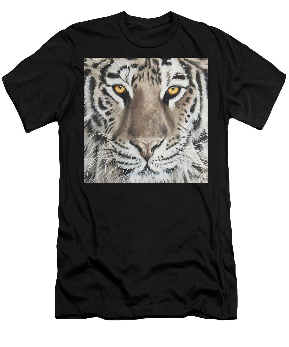 Tiger Men's T-Shirt (Athletic Fit) featuring the painting Taupe Tiger by Nicola Colbran