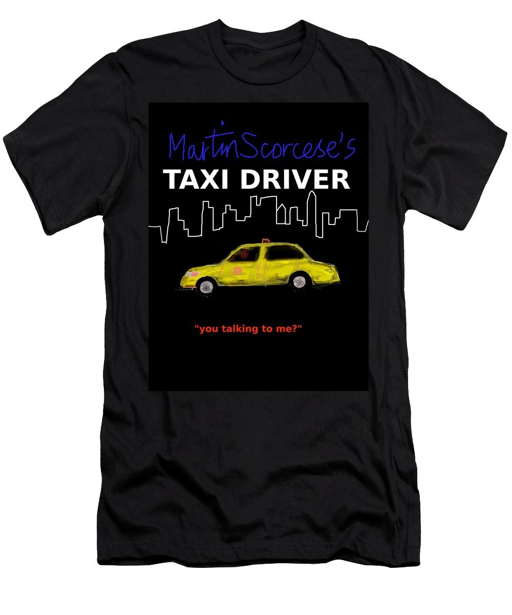 Robert De Niro Men's T-Shirt (Athletic Fit) featuring the digital art Taxi Driver Movie Poster by Enki Art