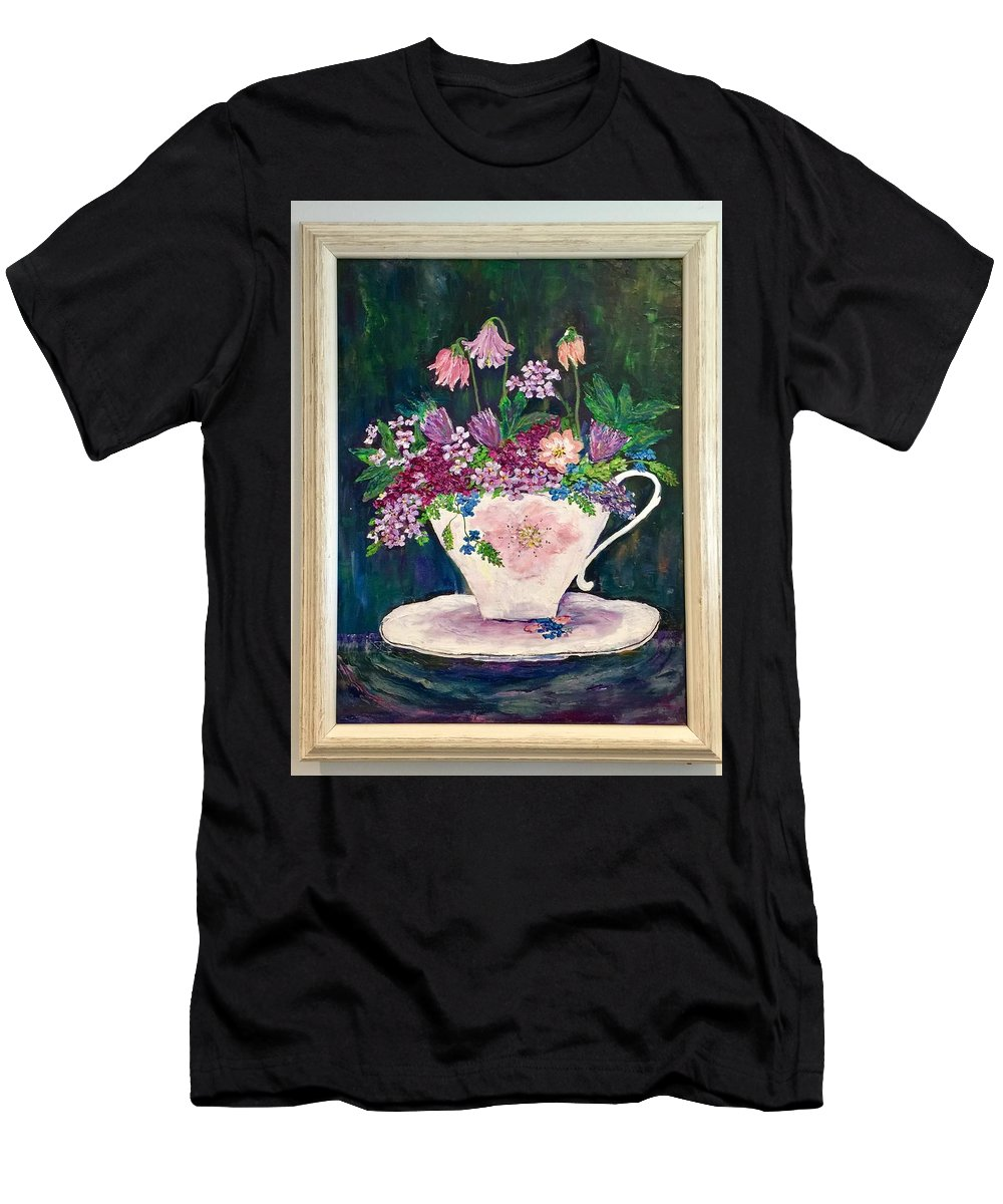 Original Oil Painting Of Flowers. Men's T-Shirt (Athletic Fit) featuring the painting Tea Cup Bloom by Fatema Ansari