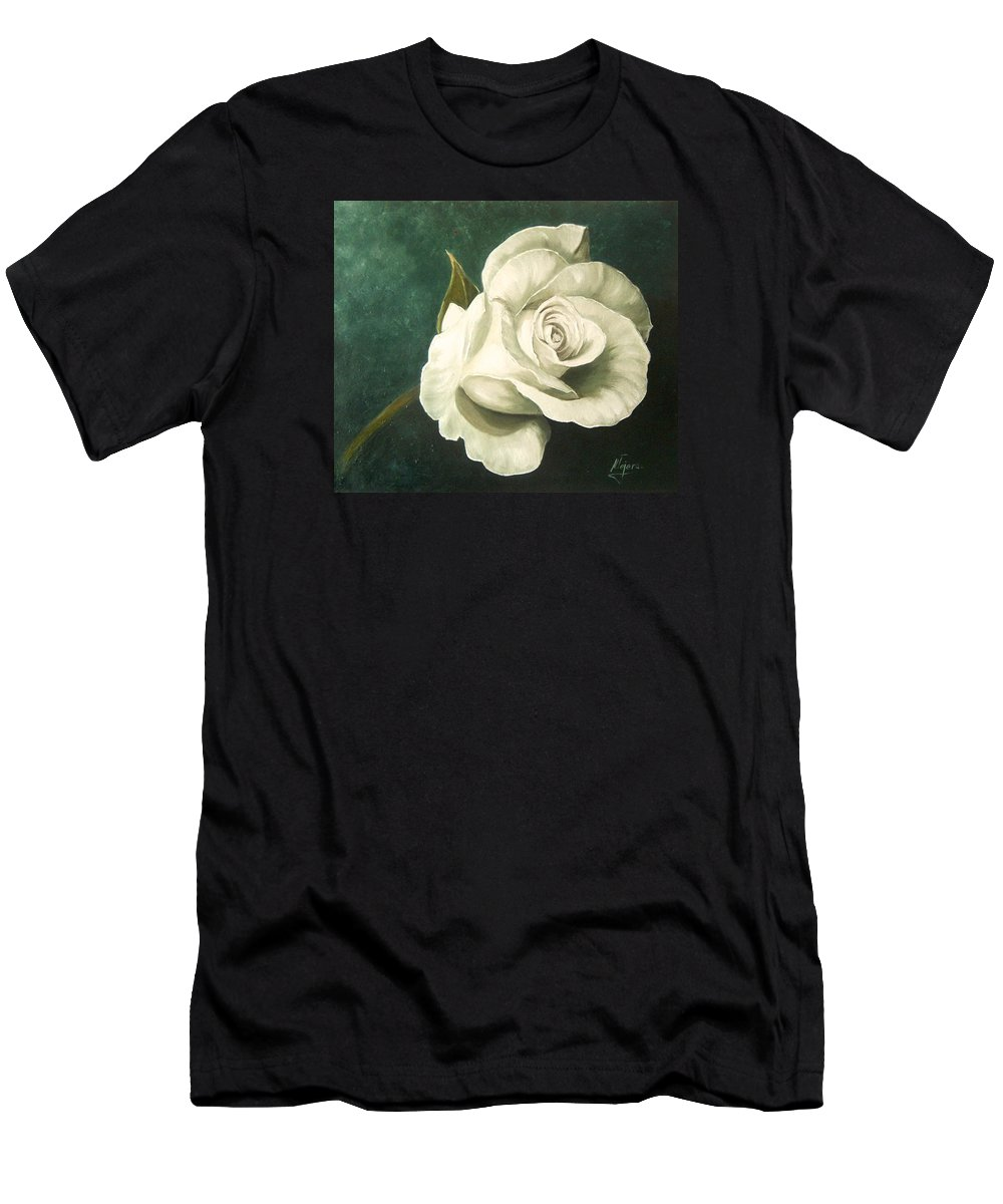 Rose Flower Still Life White Men's T-Shirt (Athletic Fit) featuring the painting Tea Rose by Natalia Tejera