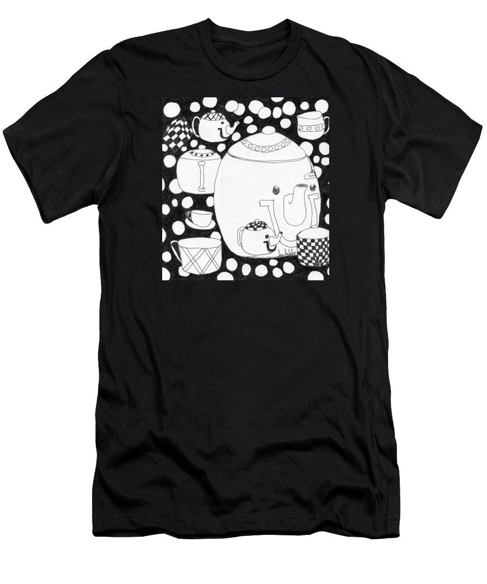 Tea Pots Men's T-Shirt (Athletic Fit) featuring the painting Tea Time by Lou Belcher