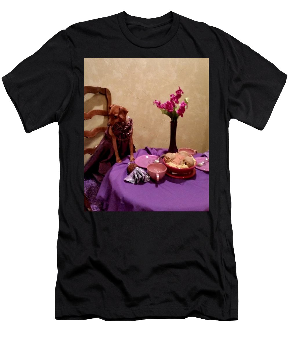 Date Night Men's T-Shirt (Athletic Fit) featuring the photograph Teagun Rose French Cafe 3 by Shetan NOIR
