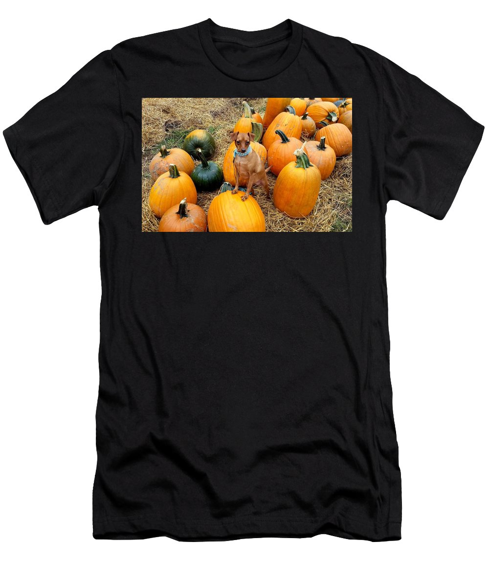 Teagun Rose Men's T-Shirt (Athletic Fit) featuring the photograph Teagun Rose Pumpkin Patch 3 by Shetan NOIR