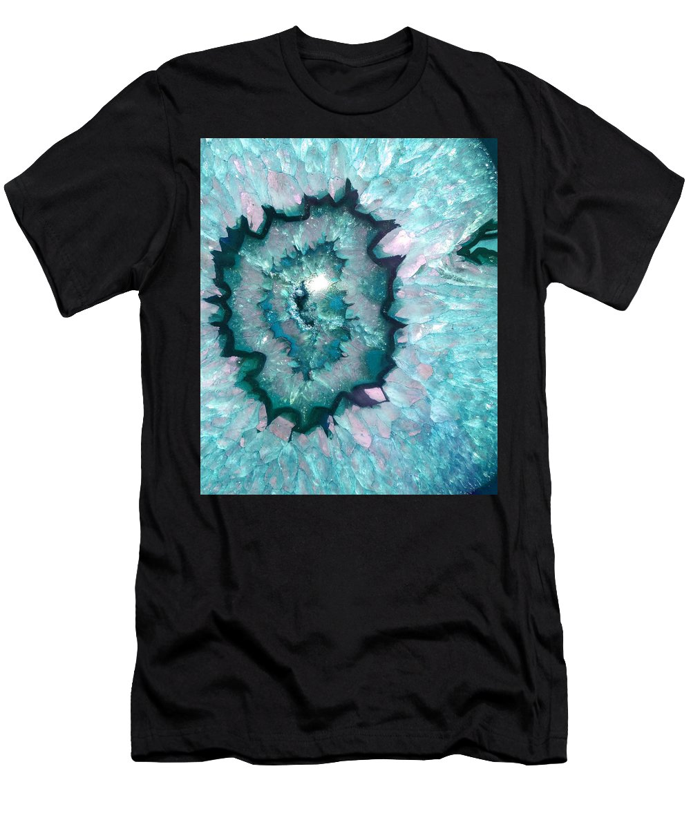 Sparkly Teal Agate With Druzy Crystals Men's T-Shirt (Athletic Fit) featuring the photograph Teal Agate by The Quarry