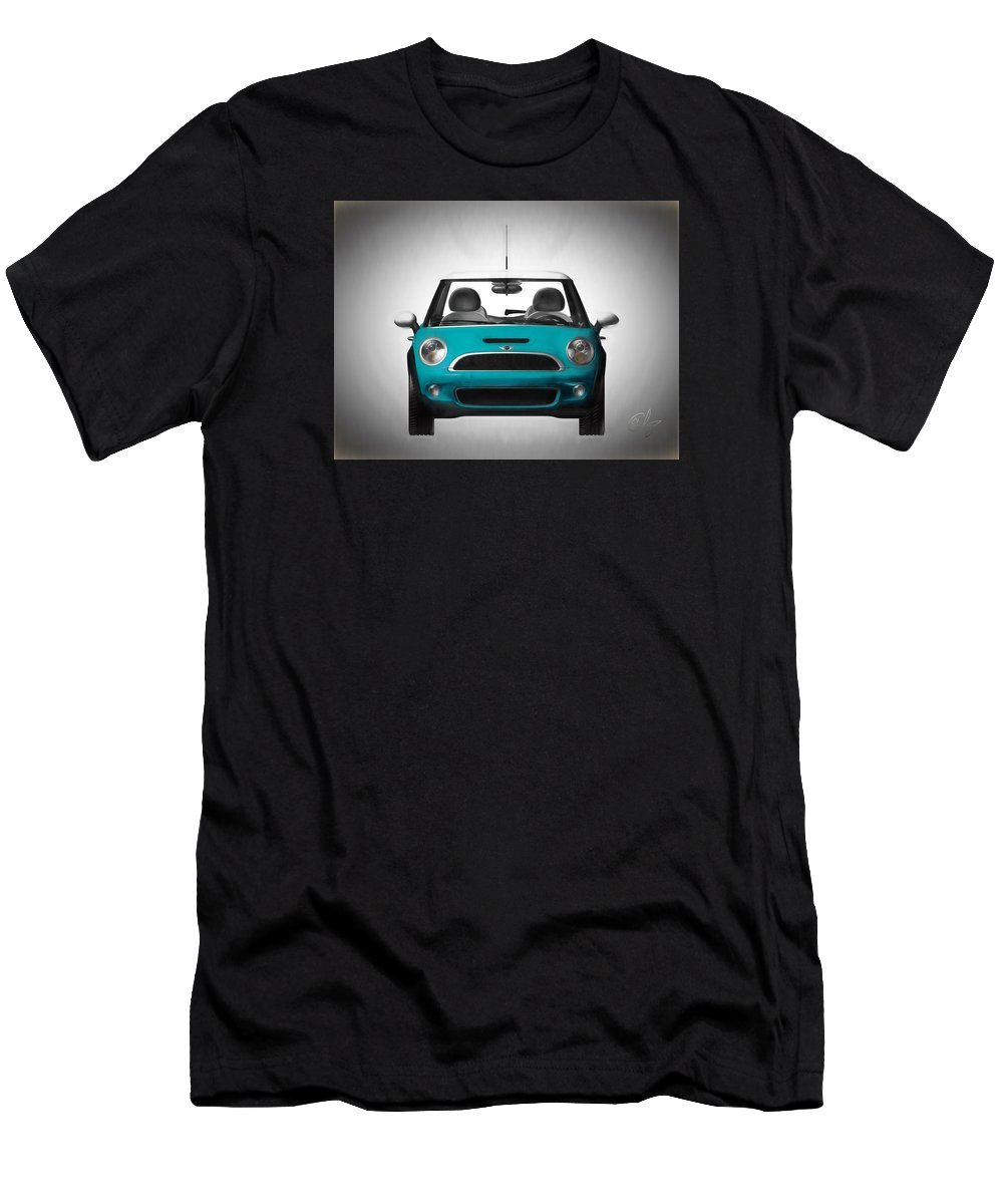 Automobile Men's T-Shirt (Athletic Fit) featuring the mixed media Teal Mini Coopre by Edier C