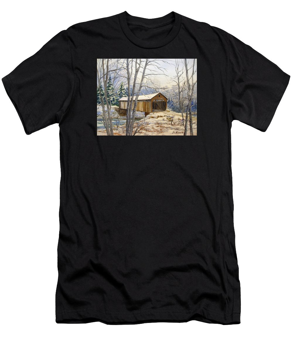 Oil Painting;bridge;covered Bridge;winter Scene;snow;landscape;winter Landscape; Men's T-Shirt (Athletic Fit) featuring the painting Teegarden Covered Bridge In Winter by Lois Mountz