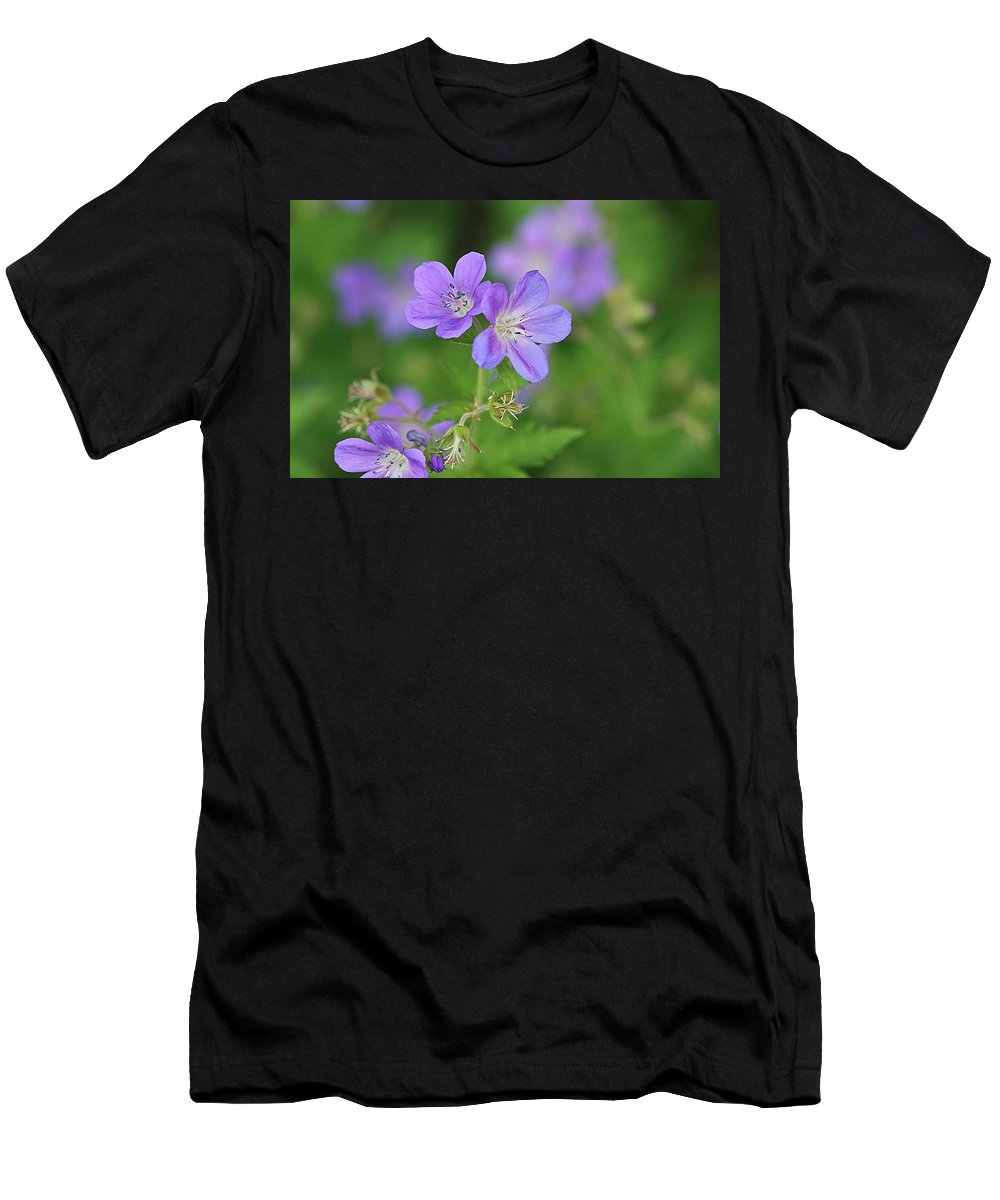 Flowers Men's T-Shirt (Athletic Fit) featuring the photograph Teeny-tiny Trio by Monnie Ryan