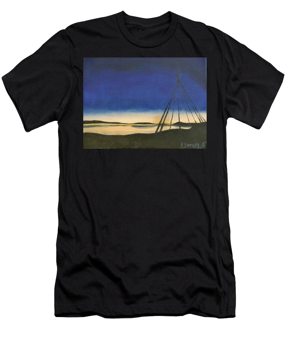 Teepee Men's T-Shirt (Athletic Fit) featuring the painting Teepee Poles by Jeannette Sommers