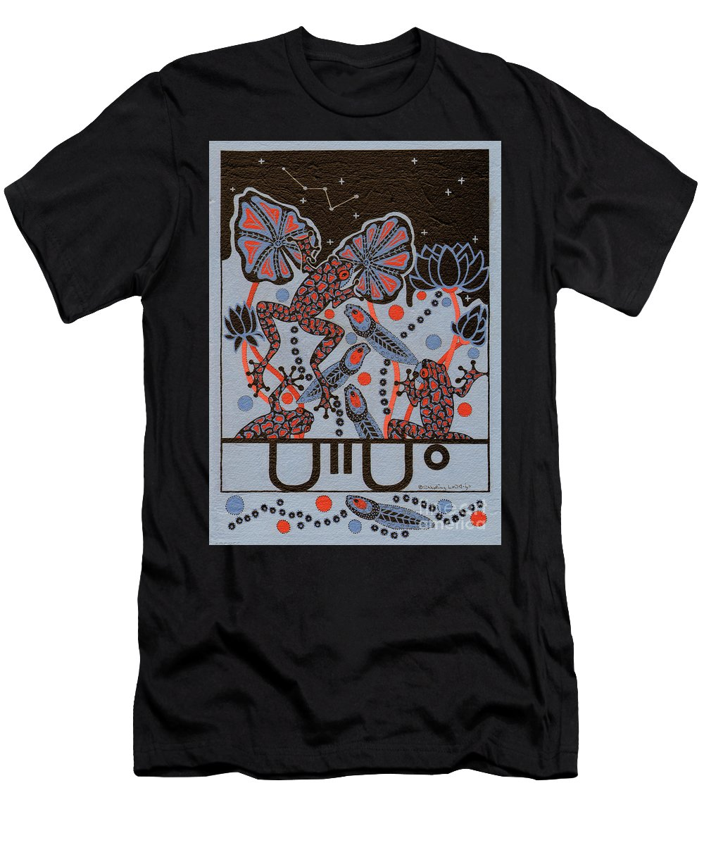 Native American T-Shirt featuring the painting Tehteu Little Green Frogs by Chholing Taha