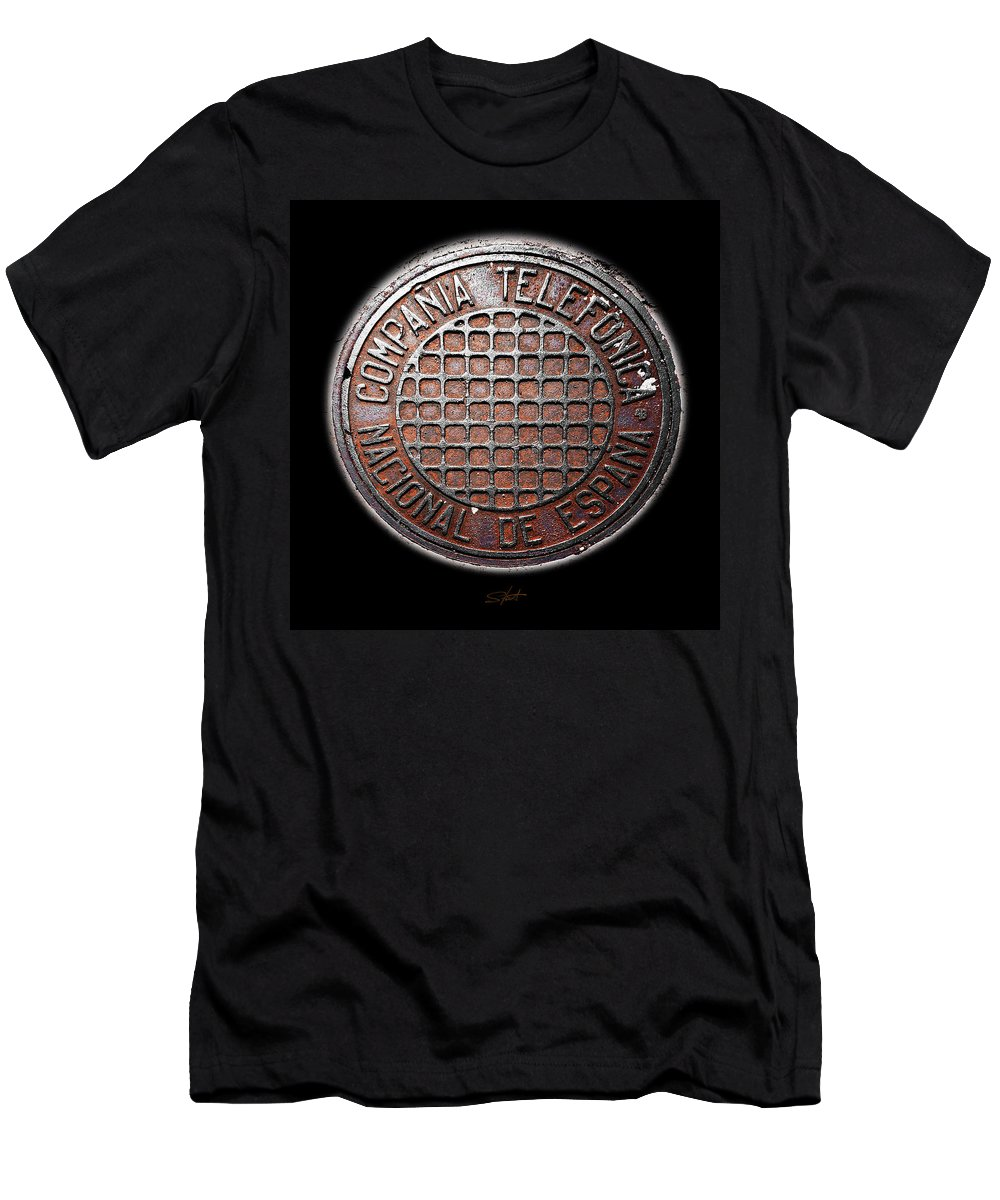 Manhole Cover Men's T-Shirt (Athletic Fit) featuring the photograph Telefonica by Charles Stuart