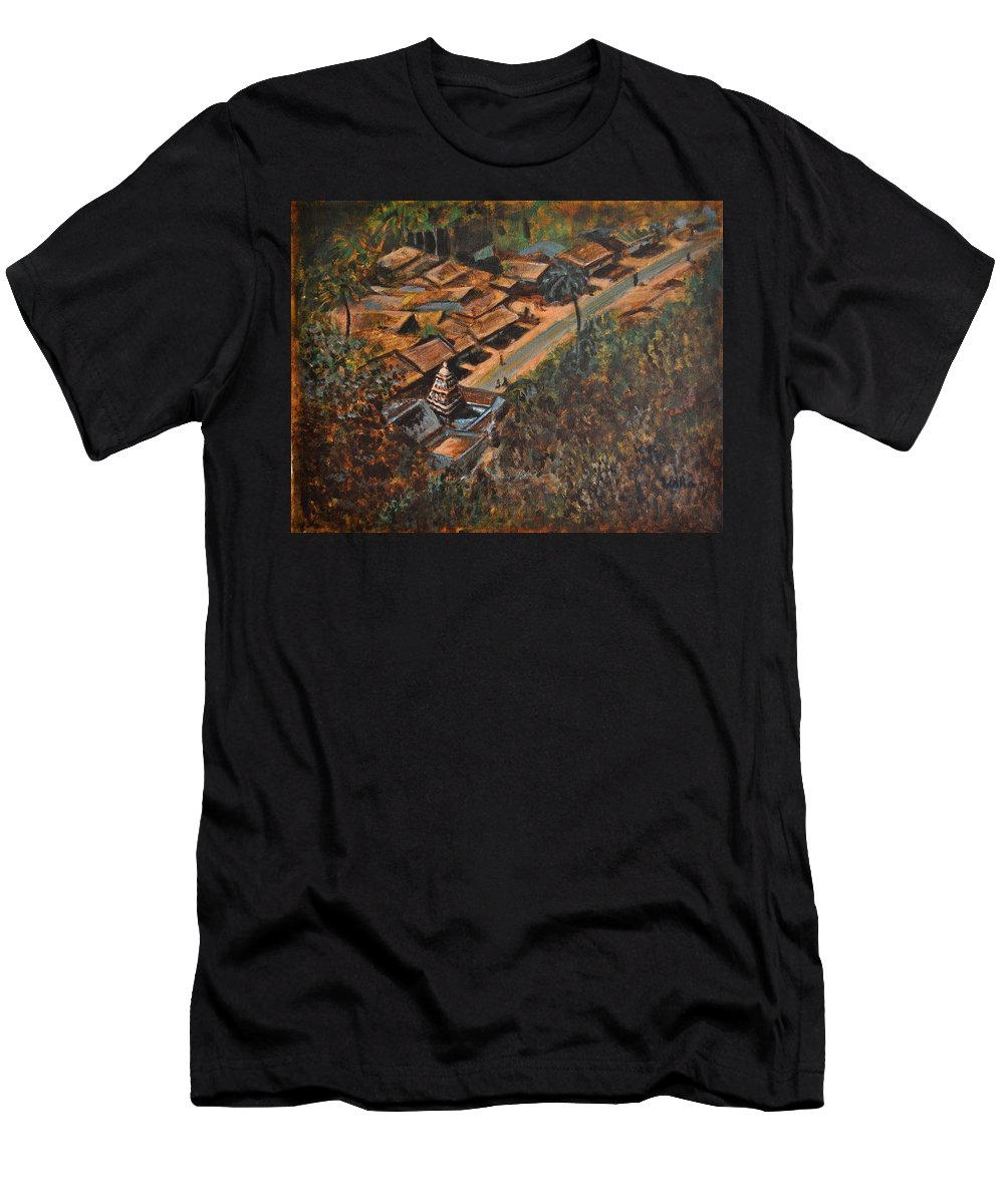 Temple Men's T-Shirt (Athletic Fit) featuring the painting Temple Town by Usha Shantharam