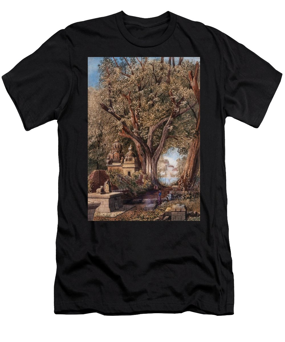 Julius Middleton Boyd () Temples And Burial Ground Near Poona Men's T-Shirt (Athletic Fit) featuring the painting Temples And Burial Ground Near Poona by MotionAge Designs