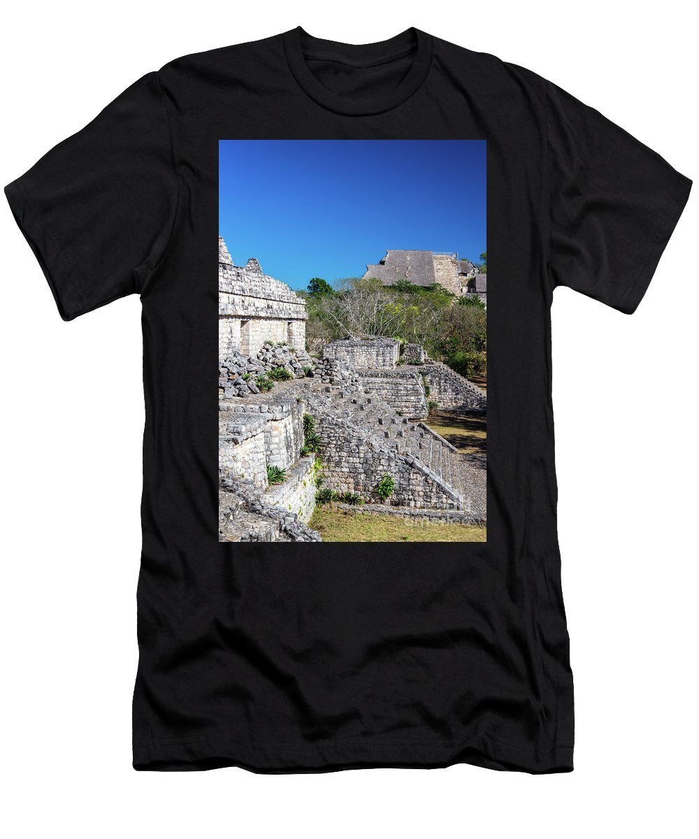 Balam Men's T-Shirt (Athletic Fit) featuring the photograph Temples In Ek Balam by Jess Kraft