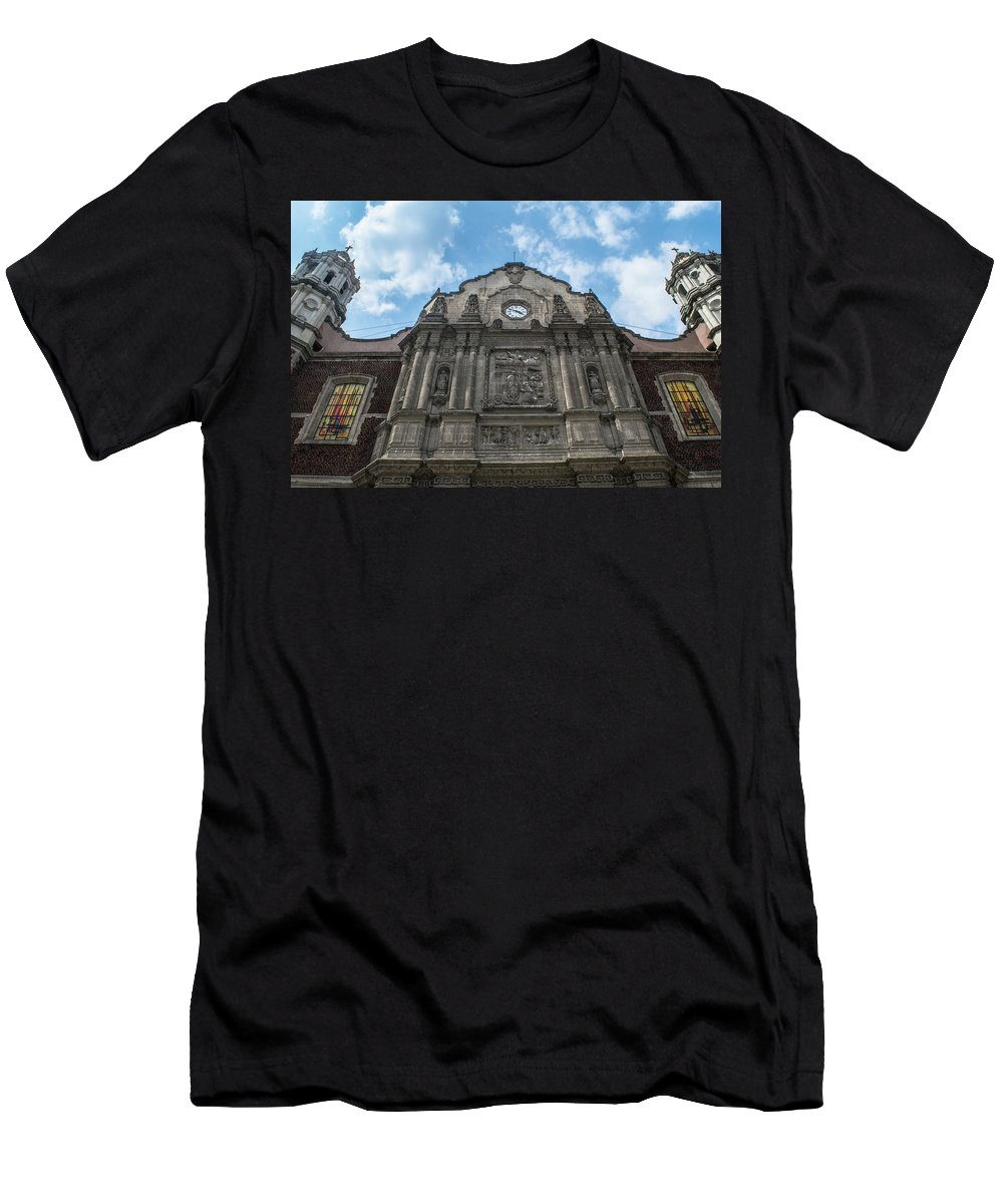 Basilica De Guadalupe Men's T-Shirt (Athletic Fit) featuring the photograph Templo Expiatorio A Cristo Rey - Mexico City I by Totto Ponce