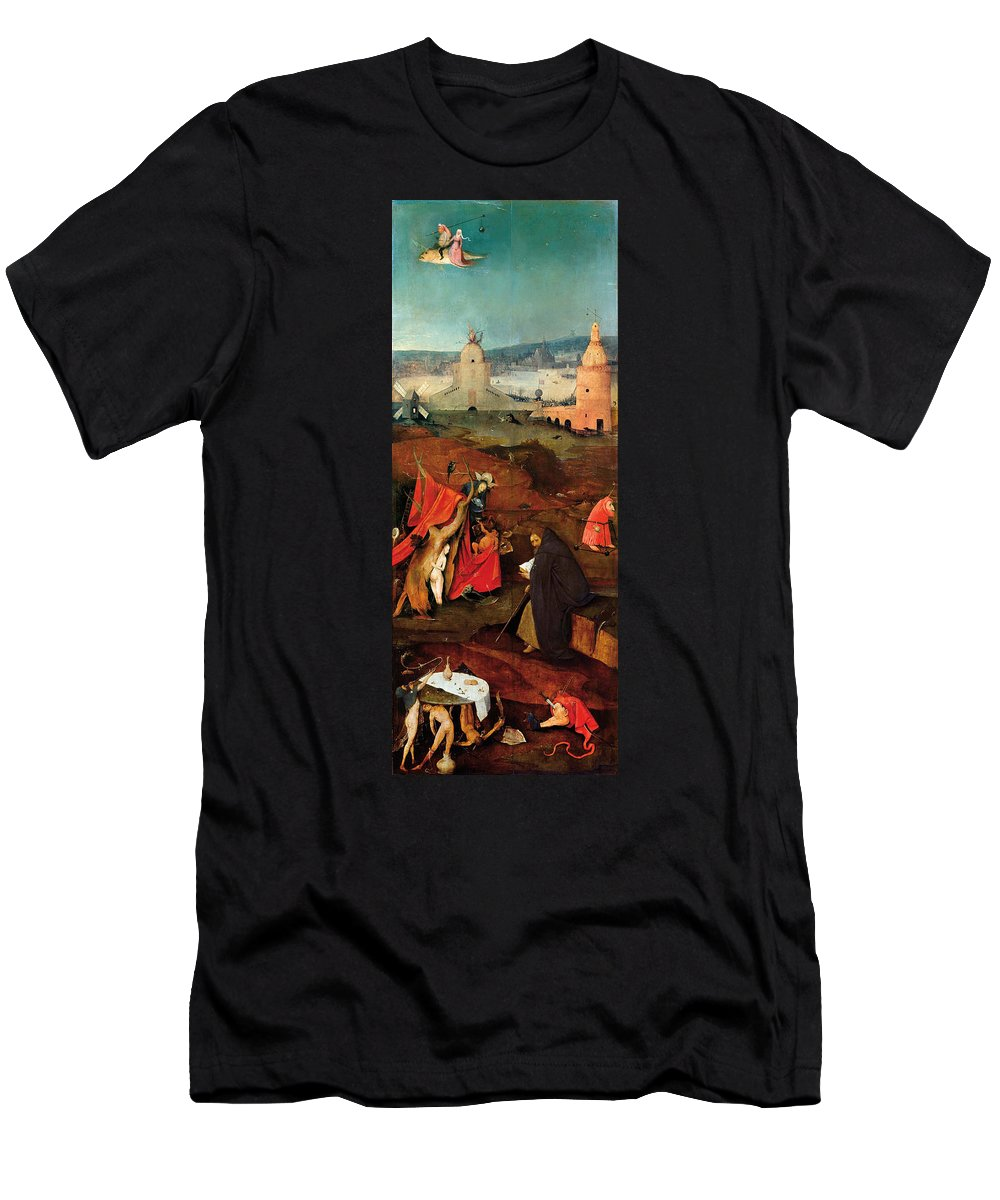 Anthony Men's T-Shirt (Athletic Fit) featuring the painting Temptation Of Saint Anthony, Right Wing by Hieronymus Bosch