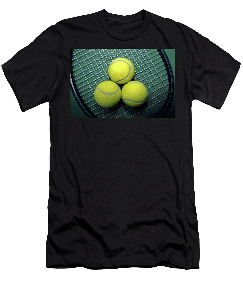 3 Yellow Tennis Balls Men's T-Shirt (Athletic Fit) featuring the photograph Tennis Anyone by Sally Weigand