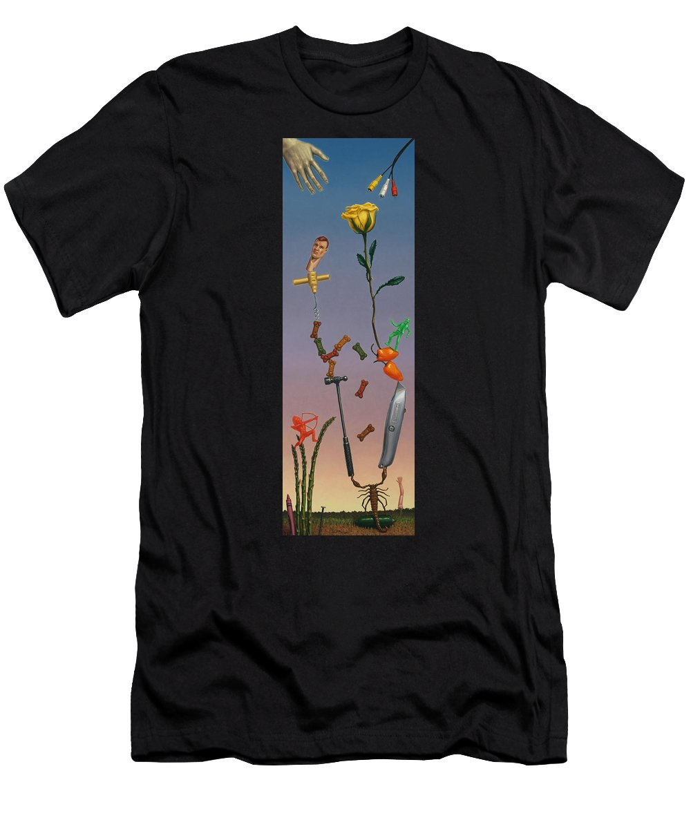 Rose Men's T-Shirt (Athletic Fit) featuring the painting Tenuous Still-life 3 by James W Johnson