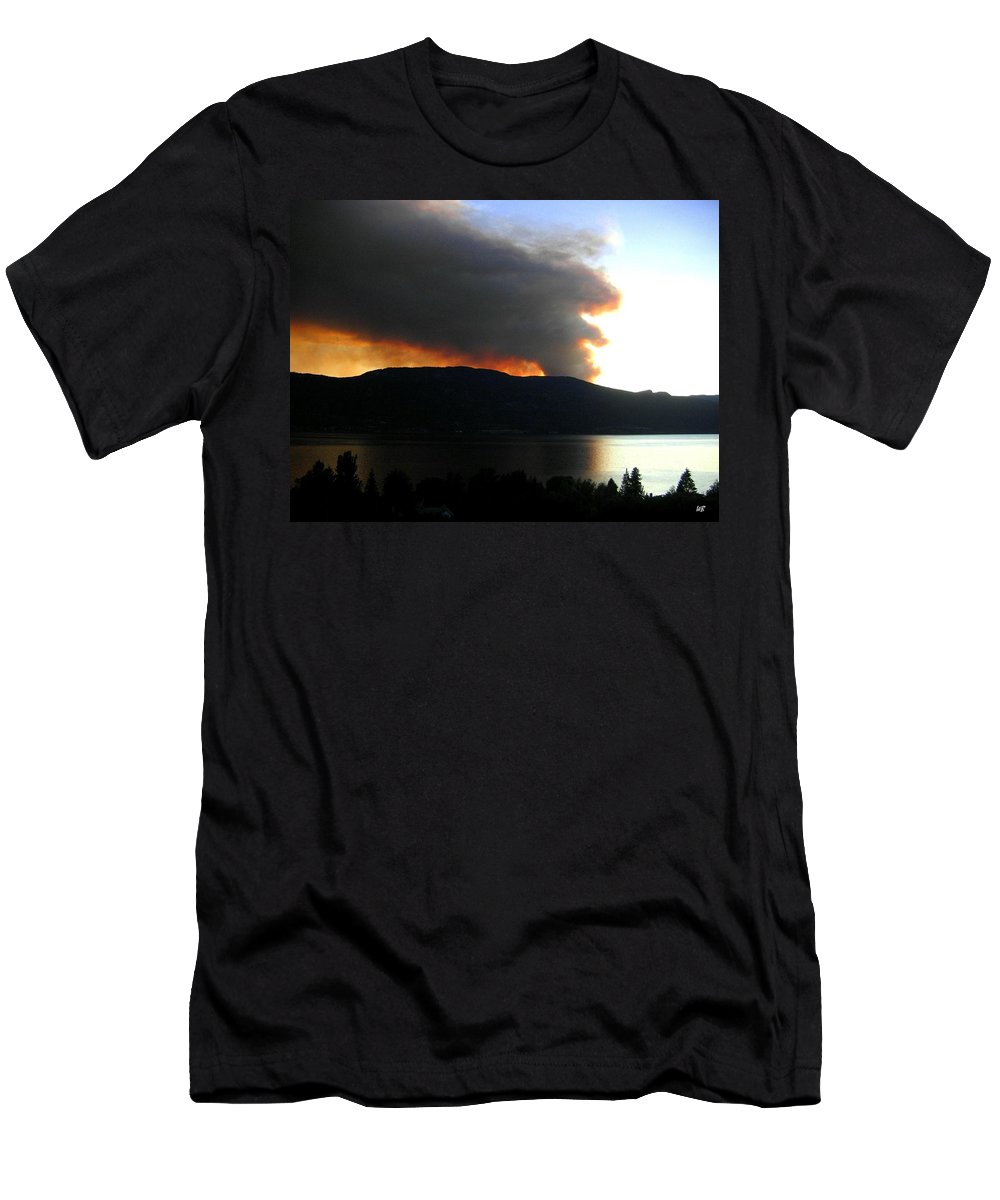 Forest Fire Men's T-Shirt (Athletic Fit) featuring the photograph Terrace Mountain Fire by Will Borden