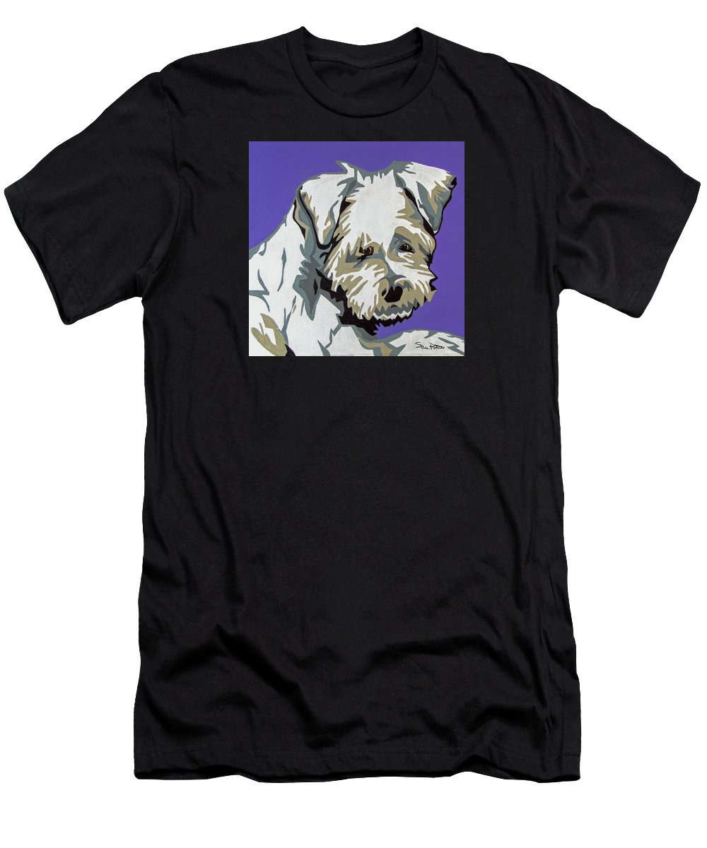 Terrier Men's T-Shirt (Athletic Fit) featuring the painting Terrier Mix by Slade Roberts