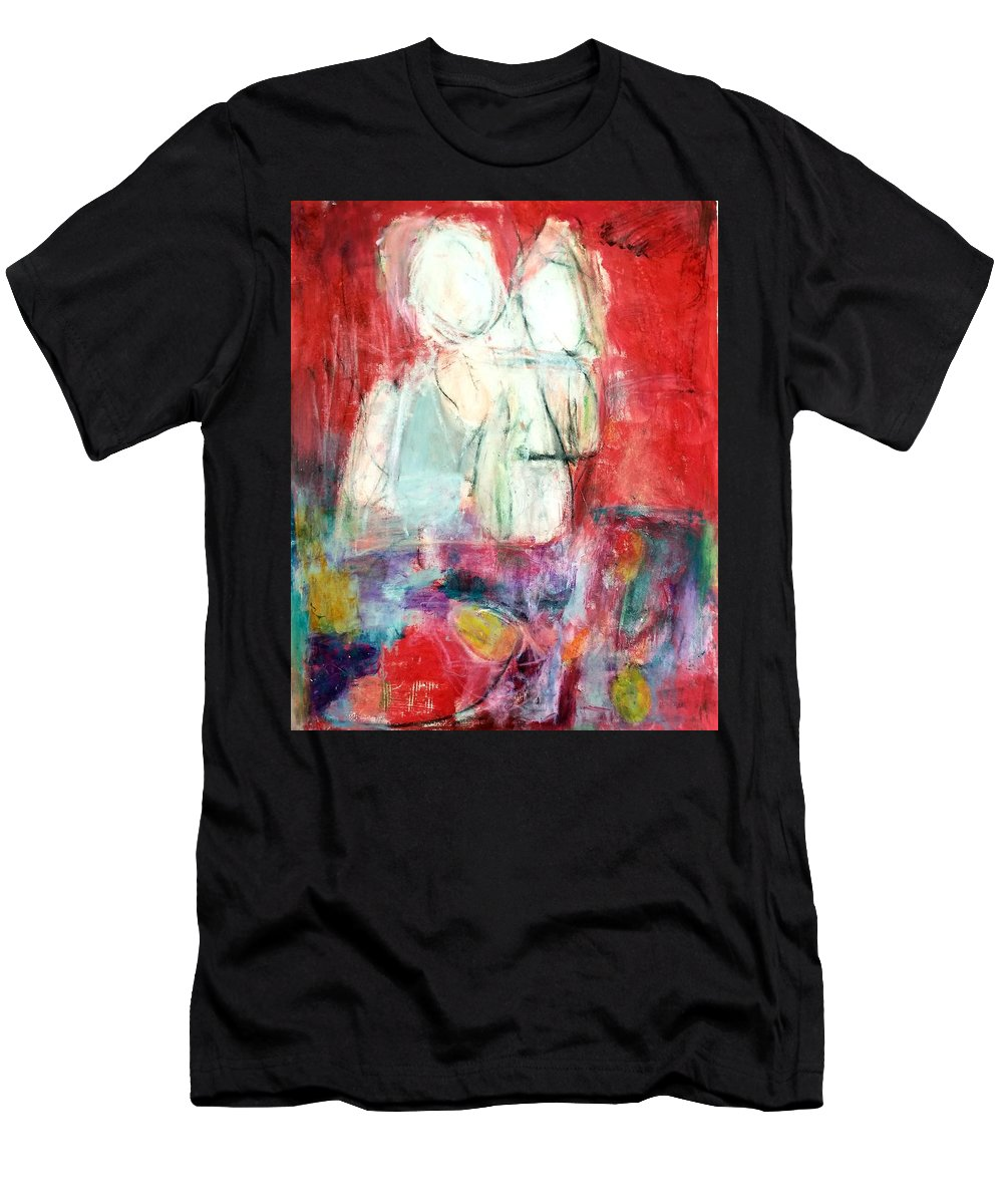 Red T-Shirt featuring the painting Tete-a-tete by Patricia Byron