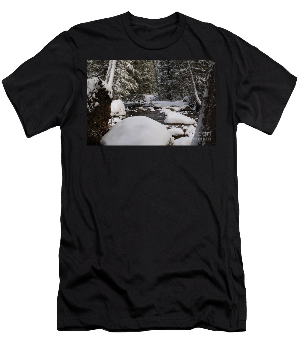 Snow Men's T-Shirt (Athletic Fit) featuring the photograph Teton River In Winter by Lucy Bounds