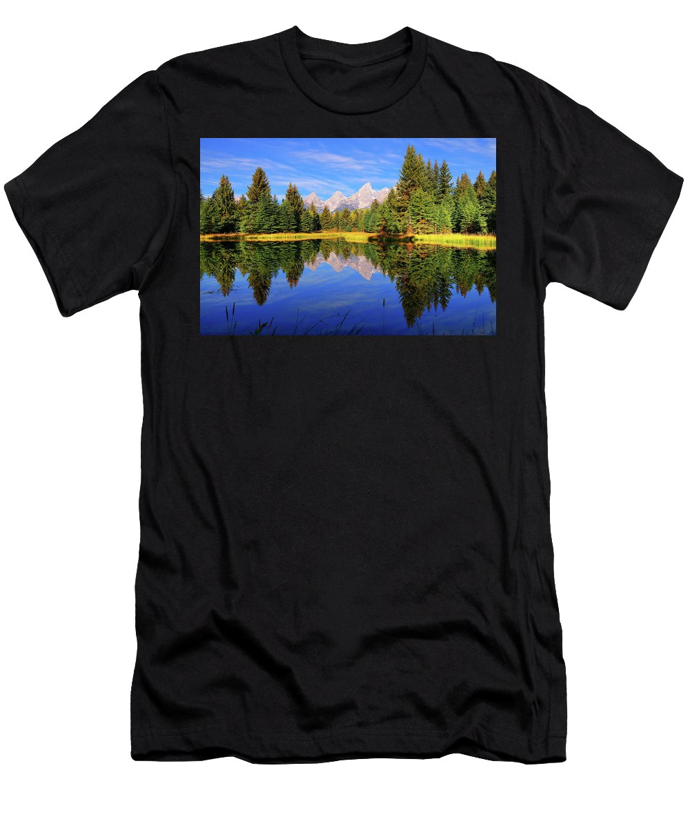 Tetons Men's T-Shirt (Athletic Fit) featuring the photograph Teton Tranquility by Greg Norrell