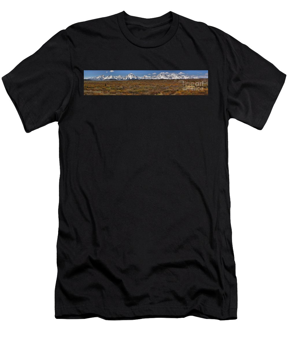 Willow Flats Men's T-Shirt (Athletic Fit) featuring the photograph Teton Willow Flats Panorama by Adam Jewell