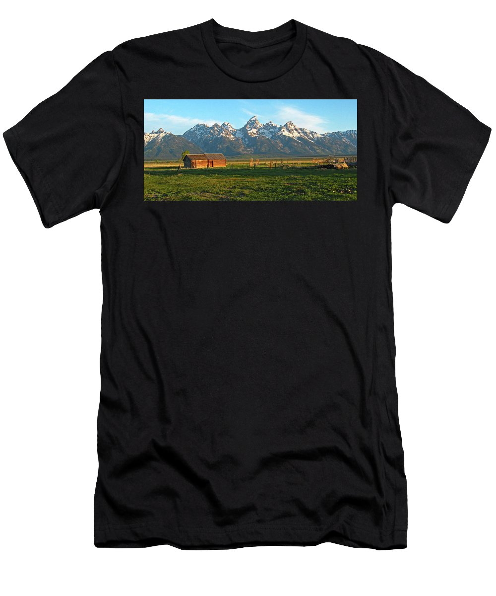 Rocky Mountains Men's T-Shirt (Athletic Fit) featuring the photograph Tetons And Cabin by Scott Mahon