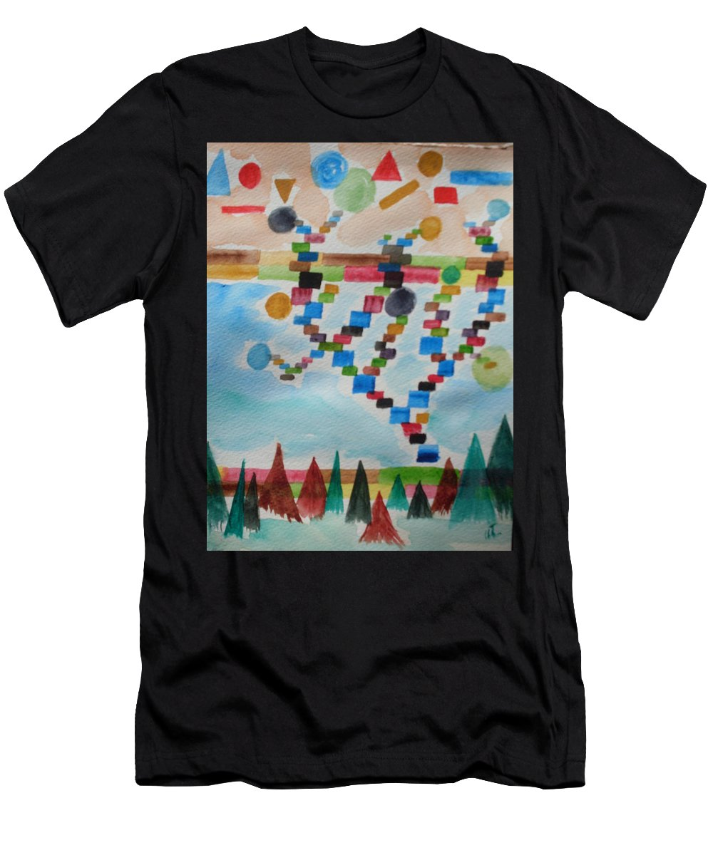 Abstract Men's T-Shirt (Athletic Fit) featuring the painting Tetrus Meets Nature by Warren Thompson
