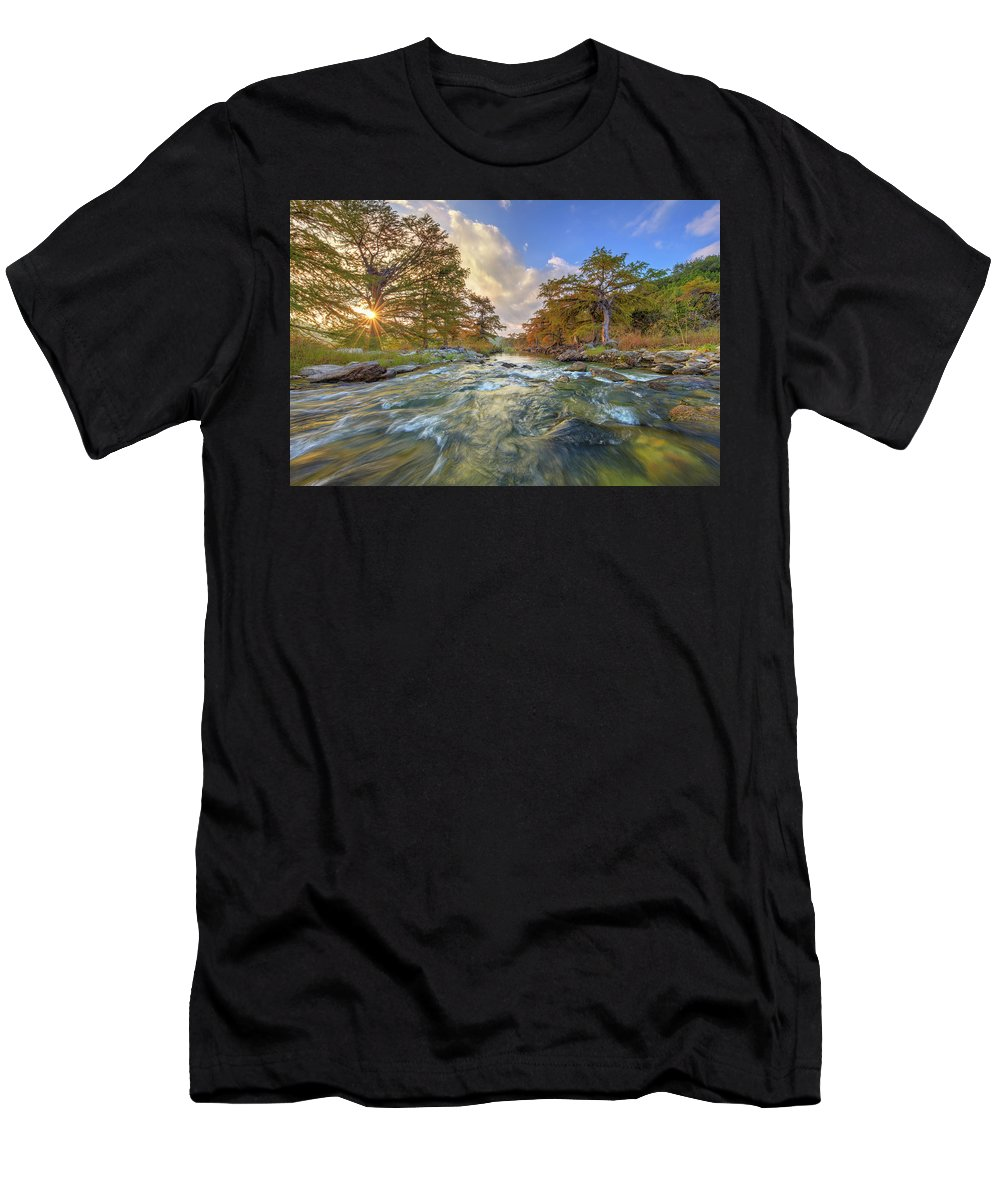 Texas Hill Country Men's T-Shirt (Athletic Fit) featuring the photograph Texas Hill Country Pedernales Sunrise 1014-3 by Rob Greebon