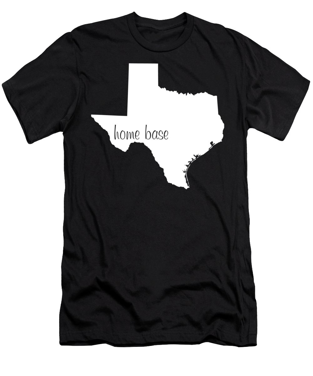 Texas Men's T-Shirt (Athletic Fit) featuring the digital art Texas Is Home Base White by Custom Home Fashions